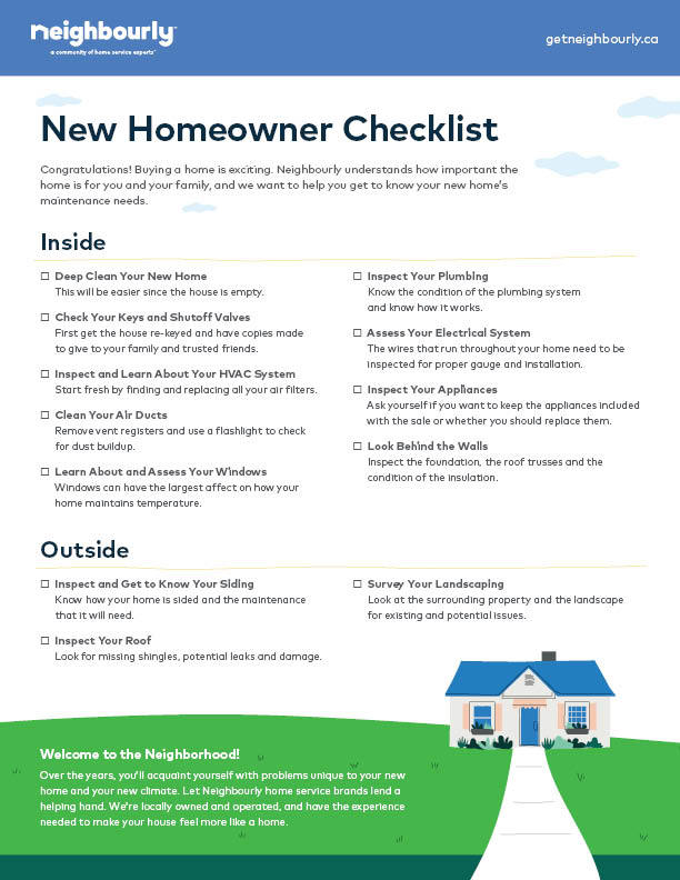 Home Owner Checklist